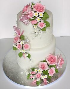 sugar paste flowers for wedding cakes uk open spray pink s m l sugar flowers cake topper 20581