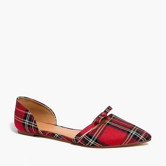 J CREW Plaid d'Orsay Flats Tartan Bow Red Size 10.5 H1125 shoes NEW
