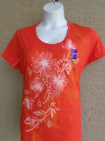 NWT Just My Size Graphic Scoop Neck Tee Shirt  Orange with Glitzy flowers 3X