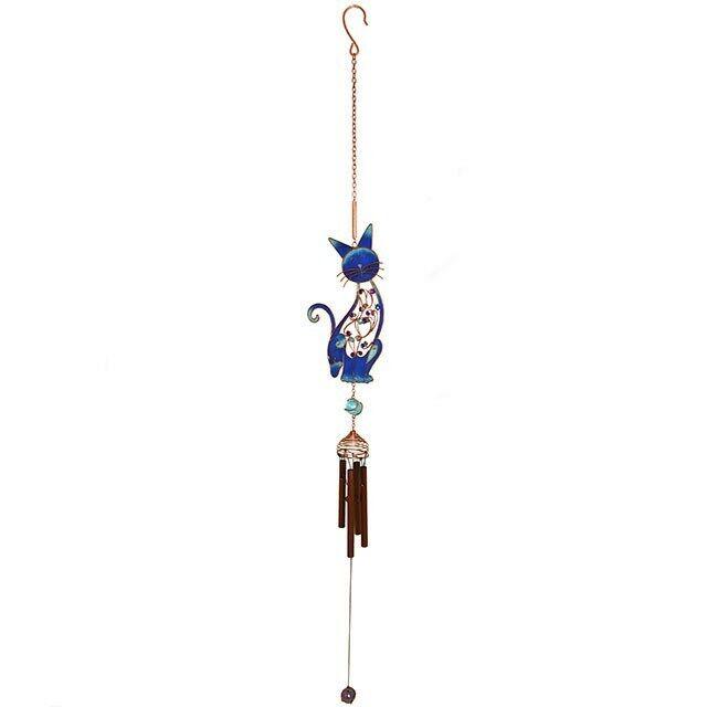 Garden Wind-chime Cat Slinky Blue