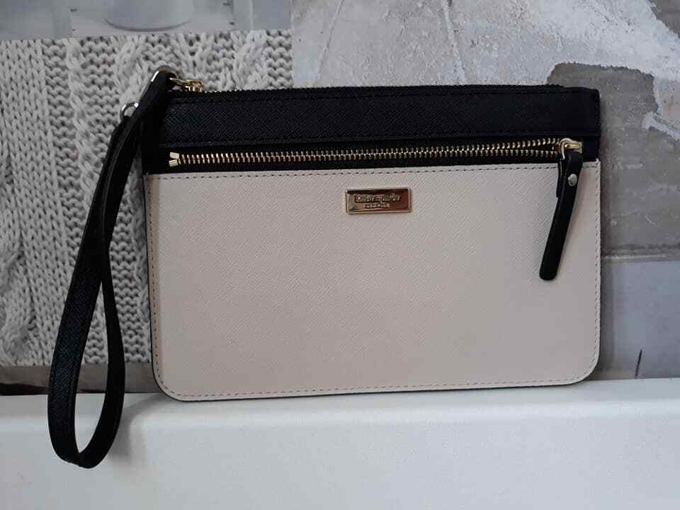 * Kate Spade Tinie Laurel Way Saffiano Leather Wristlet Cement & Black WLRU4788