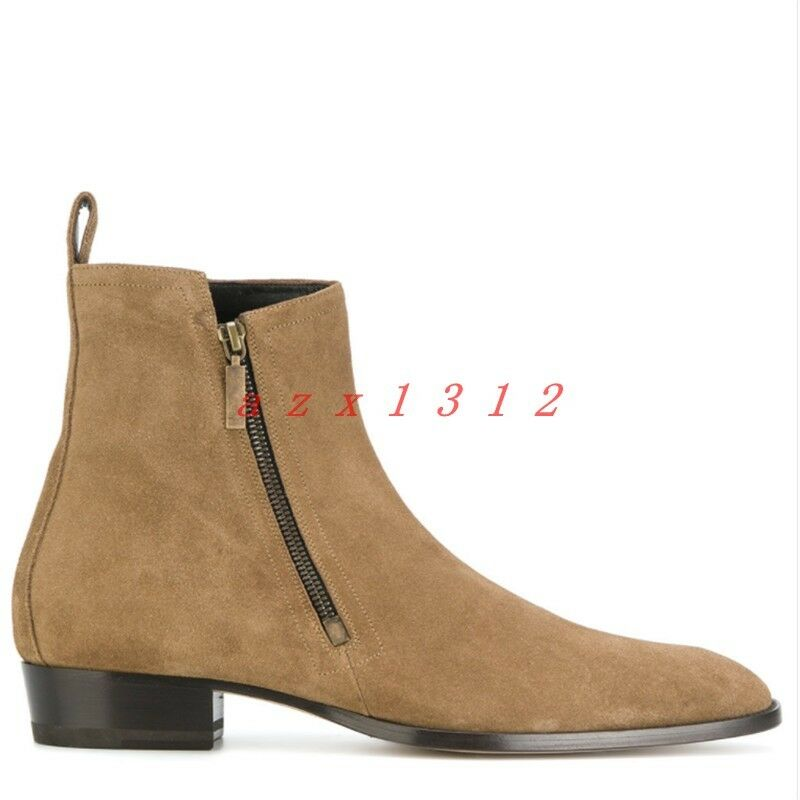 Mens Real Suede Leather Ankle Boots Side Zip Chelsea Retro Winter Warm shoes New