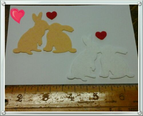 X2 Felt die cut kissing Bunny Embellishments