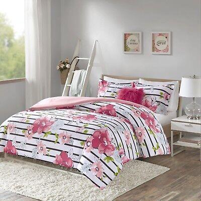 Twin Bedding Set 3 Piece Pink Teen Girl Room Flower Floral Gift Comforter New Ebay