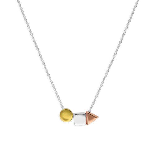 Collar de plata esterlina 18 Pulgadas W Chapado en Oro mixto formas geométricas