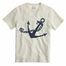 L HUGO GUINNESS for J. CREW Nautical Anchor Print T-Shirt Heather Aluminum Gray