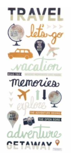 "Epoxy Travel Getaway Phrase Vacation Scrapbook Stickers 5"" x 12"""