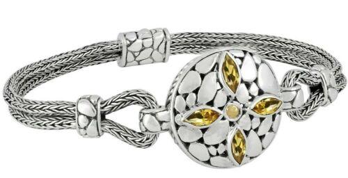 Devata Bali DragonBone Sterling Silver 925 bracelet or 18K Citrine DVK6975CT