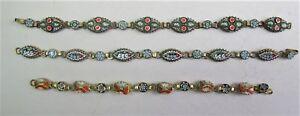 Fine Set Of 3 Antique Italian Micromosaic Bracelets C 1920 Jewelry #2 Handsome Appearance Antiques