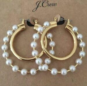 NWT-J-CREW-Authentic-Pearl-double-hoop-earrings