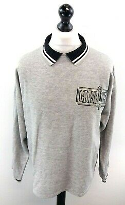 Honig Marca Crashline Mens Jumper Sweater Polo L Large Grey Acrylic & Cotton