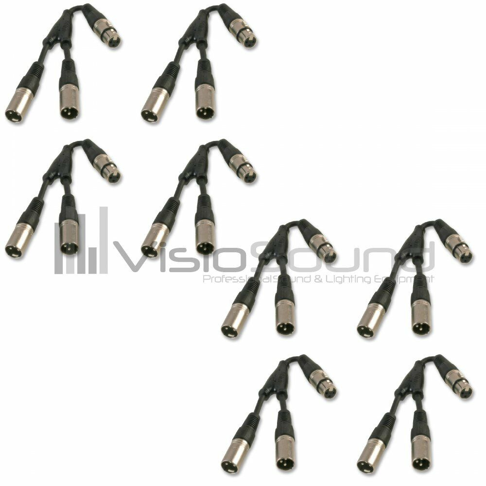 VisioSound 2 x Male XLR - 1 x Female XLR Splitter Combiner Cable - Pack of 8