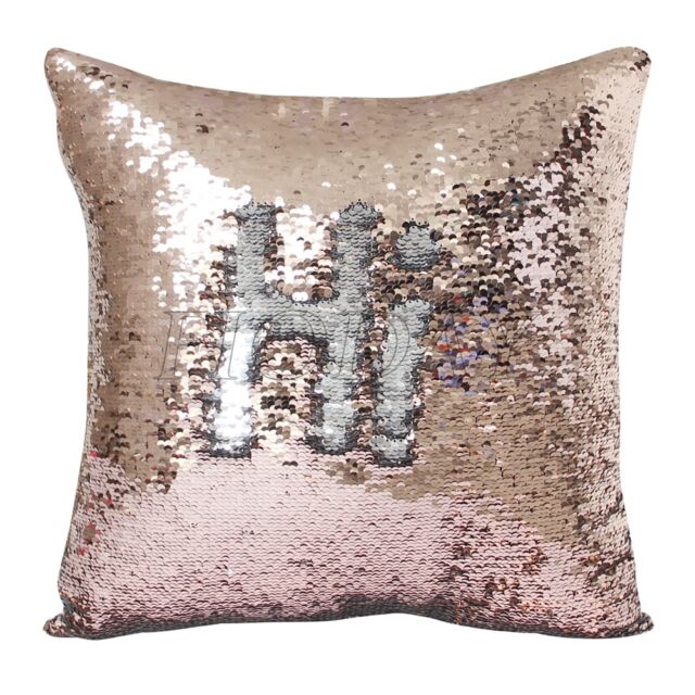 Reversible Mermaid Pillow Sequin Cover Glitter Sofa Cushion Case Double Color 40