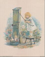 Vintage 8x10 Print Victorian Garden Child at Water Pump Bath Wash Puppy & Dolls
