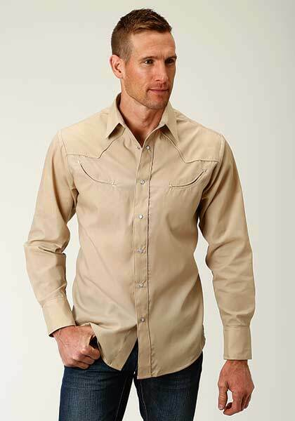 Roper Mens long sleeve Solid Broadcloth- Stone Tan Button Up Shirt 3XL