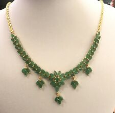 14k Solid Yellow Gold Dangle Pendant Necklace 14CT Natural Emerald 10.87GM