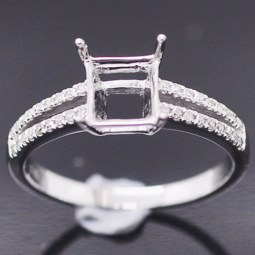 6x6mm Princess Cut 14k White gold Natural Diamonds Semi Mount Wedding Ring
