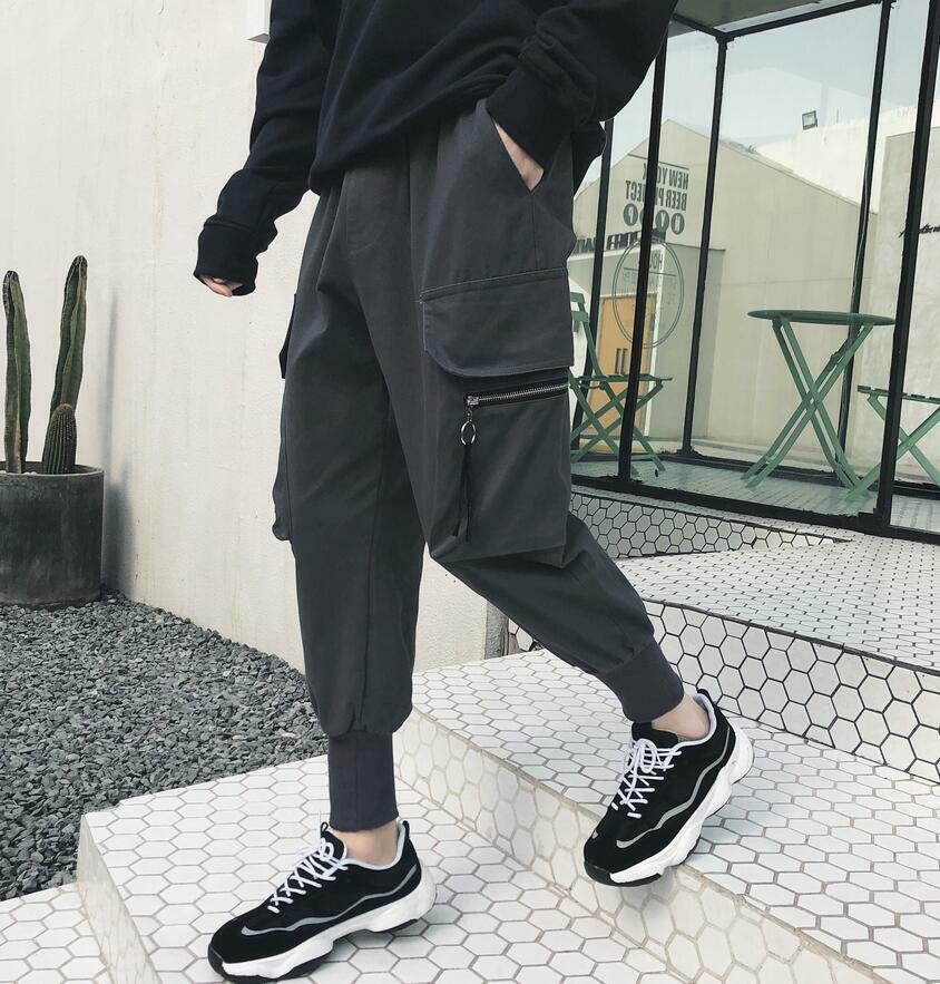 Mens Gym Running Sports Wide Leg Trousers Joggers Casual Harem Cargo Pants New Y
