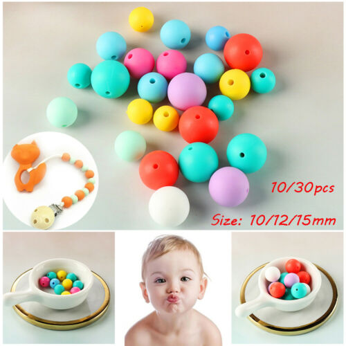 Round Safety Baby Teether BPA-Free Silicone Mom DIY Necklace Chew Beads