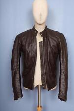 Vtg Vanson Dark Brown Leather CAFE RACER Motorcycle Jacket BEAUTIFUL Sz 36