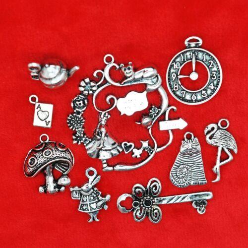 Tibetan Silver Alice in Wonderland Theme Charm Pendant Beads Jewellery Making