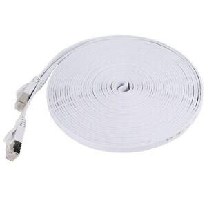 New-3-039-Category-7-Cat7-Network-Ethernet-LAN-Patch-Flat-Cable-Cord-White-3-ft