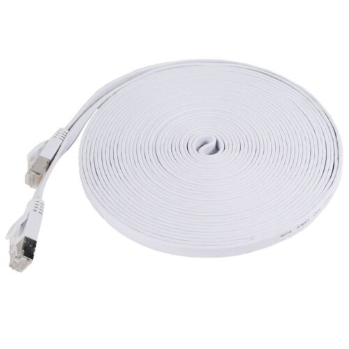 New 3/' Category 7 Cat7 Network Ethernet LAN Patch Flat Cable Cord White 3 ft