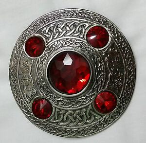 Details about Celtic Brooches Red Stones Antique Finish/Sash Brooch/Kilt  Fly Plaid Brooch