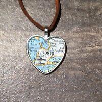 Hamilton Toronto Canada North America Map Pendant Silver Necklace Vntg Atlas F04