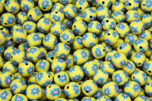 25 x 13-14mm Handmade Polymer Clay Fimo yellow flower Beads Tahoka Amarillo