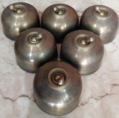 12 Pc Rare Vintage Melon Brass Ceramic Porcelain Light Electric Switches Button