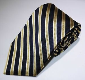 NWOT Men's Nordstrom Navy Gold Silver Striped All Silk Made in USA tie