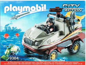 Playmobil-9364-Amphibienfahrzeug-Ganove-schwimmfaehig-flexible-Achse-SEK-Neuware