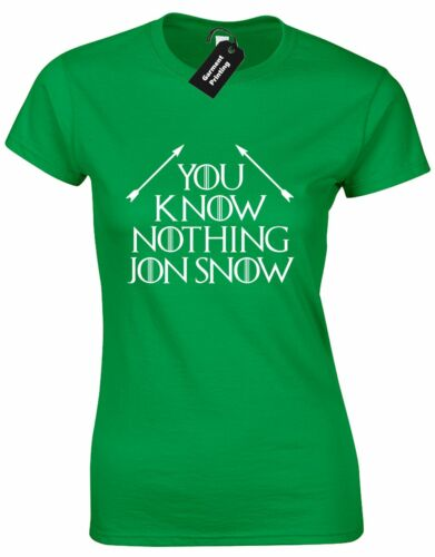 YOU KNOW NOTHING JON SNOW 2 LADIES T SHIRT GAME DAENERYS TYRION THRONES WOLF