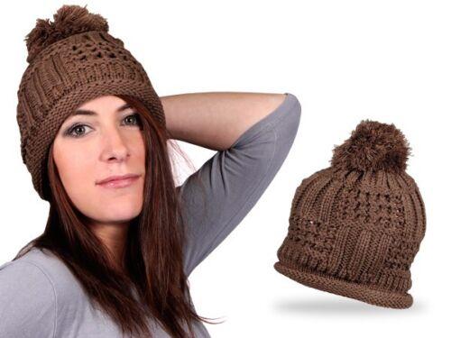 Woll-Mütze Strick-Mütze Winter-Mütze Beanie Ballon-Mütze Bommel-Mütze Wolle Flap
