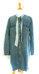 001472eb0f Details about Lucky Brand Western Pearl Snap Denim Shirt Womens XL Blue  Jean Long Sleeve