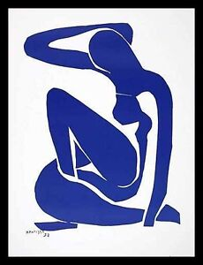 Henri Matisse Nu Bleu I 1952 Poster Art Print with Aluminium Frame Black 80x60cm