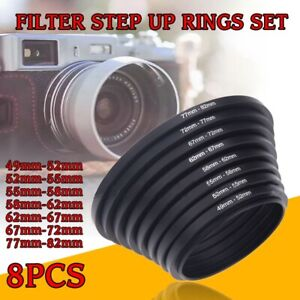 Filter-Step-Up-Rings-Set-49-52-55-58-62-67-72-77-82mm-8pcs-49mm-82mm-As-Hood-New