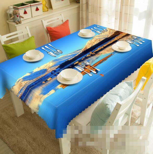 3D Snow Lake 160 Tablecloth Table Cover Cloth Birthday Party Event AJ WALLPAPER