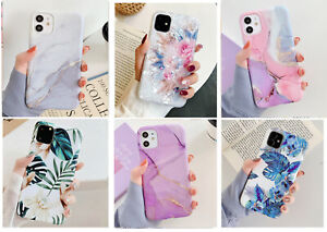 F iPhone 12 Pro Max Mini 11 Pro Shockproof Leave Flower Marble Cover Case+Glass