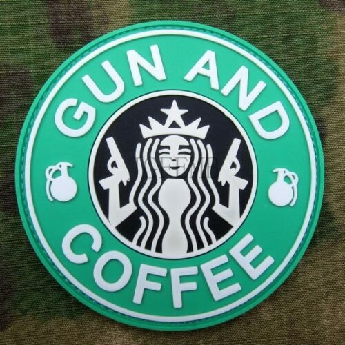 Starbucks Coffee GUN AND COFFEE Grenade Tactical Morale 3D PVC Patch