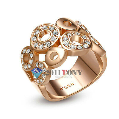Gorgeous 18K Rose Gold Plated Use Multi Swarovski Crystal Womens Cocktail Rings