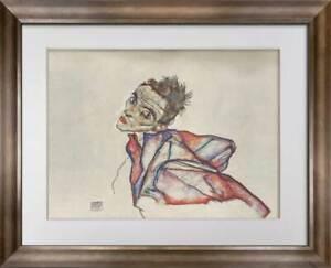 "Egon SCHIELE Lithograph SIGNED ""Self Portrait""  Ltd. Edition  w/FRAME"
