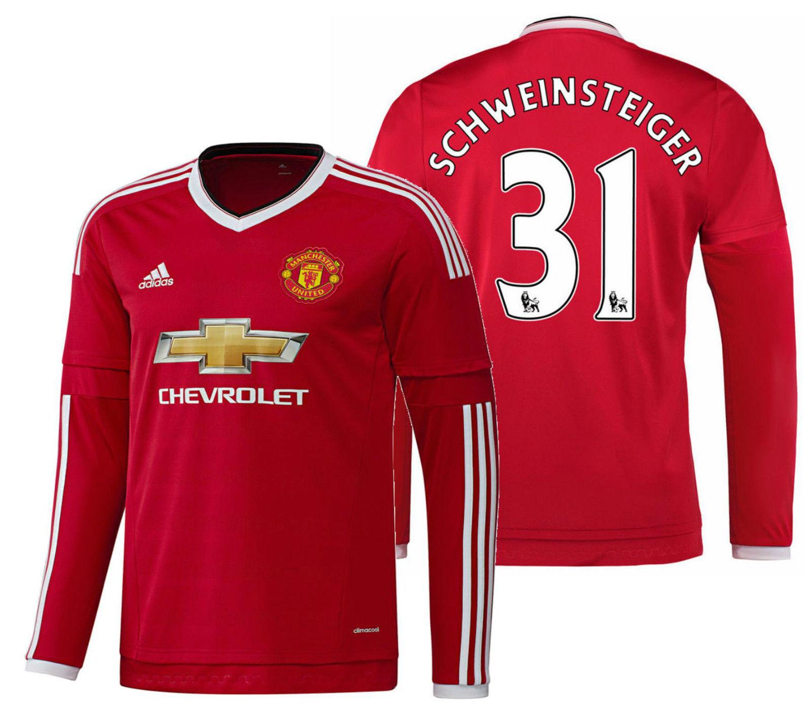 Adidas Claro Schweinsteiger Manchester United Manga Larga Home Jersey 2015 16