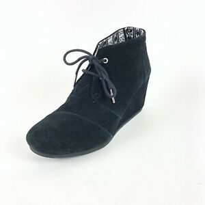 a9b0dc41665 Image is loading Toms-Black-Suede-Desert-Wedge-Ankle-Booties-Shoes-