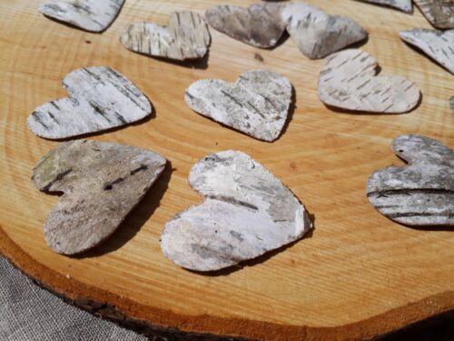 10 //// 50//100 Rustique Mariage Silver Birch Bark coeurs faveurs Table Confettis Craft