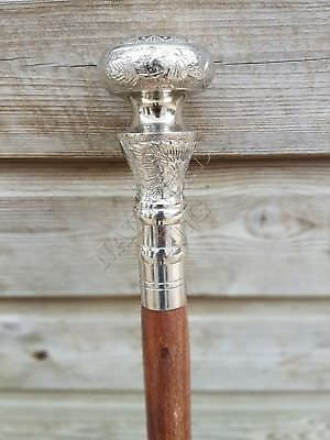 Vintage Silver Round Knob Cane Wooden Shaft Walking Stick Silver Brass Handle