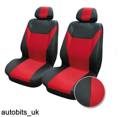 CAR SEAT COVERS FRONT VAN MOTORHOME BUS MPV TRUCK RED BLACK UNIVERSAL FABRIC