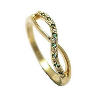 New 9ct Gold filled  Cross Over Half Eternity Ring  CZ  B131