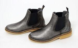Details zu Zecchino d`Oro Chelsea Boots LammfellLeder Silber genarbt Gr.33 43 NEU%%%